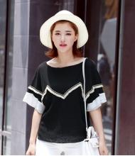 พร้อมส่ง เสื้อผ้าแฟชั่น เสื้อแฟชั่นเกาหลี ผ้าฝ้ายเกาหลี แต่งพู่ตามภาพ สีดำ