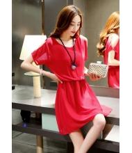พร้อมส่ง เดรสแฟชั่น เดรสแฟชั่นเกาหลี ผ้าชีฟอง มีซับใน จั้มเอว สีแดง