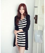 พร้อมส่ง เดรสแฟชั่น เดรสแฟชั่นเกาหลี ตัดต่อเหมือนใส่ชุด 2 ชิ้น สีดำ - ขาว