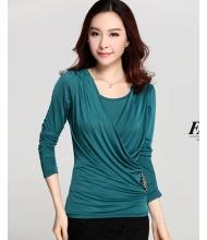 พร้อมส่ง เสื้อผ้าแฟชั่น เสื้อแขนยาวแฟชั่นเกาหลี แต่งเพชรตามภาพ สีเขียว
