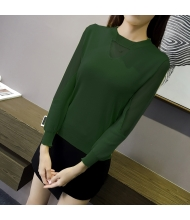 พร้อมส่ง เสื้อผ้าแฟชั่นราคาถูก เสื้อแฟชั่นเกาหลี แต่งซีทรูคอและแขนตามภาพ สีเขียว